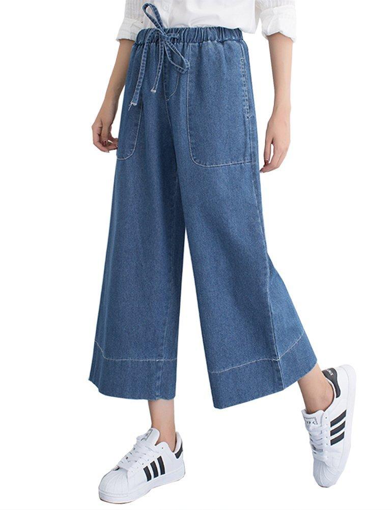 Ylingjun Womens Casual Loose Wide Leg Elastic Crop Harem Jeans (XL, Blue)
