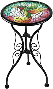 Liffy Outdoor Mosaic Side Table Hummingbird Bench Small Patio Round Printed Glass Table for Garden, Yard or Lawn