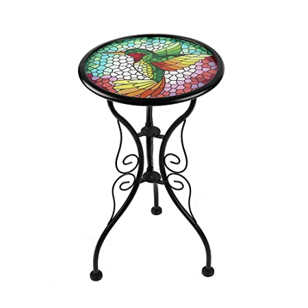 Liffy Hummingbird Mosaic Outdoor Side Table Round Painted Glass Desk for Garden, Dining Room