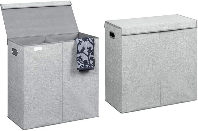 Bolsa para Guardar Ropa en el lavadero con Tapa mDesign Juego de 2 cestos para Ropa Sucia en Polipropileno Transpirable Cesto Plegable para Colada Gris ba/ño o Dormitorio 2 divisiones y Asas