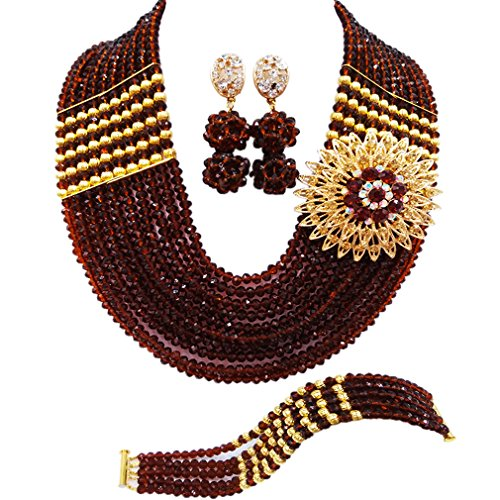 aczuv Nigerian Jewelry for Women African Wedding Necklace Set Crystal Beaded Bridal Jewelry Sets (Brown) ()