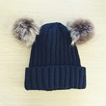 d4fd80f2e27 Kids Baby Girls Boys Cute Double Pompom Beanie Hat Crochet Cap Winter Warm  Fashionable Knit Hat for Children (Navy Blue)  Amazon.co.uk  Baby