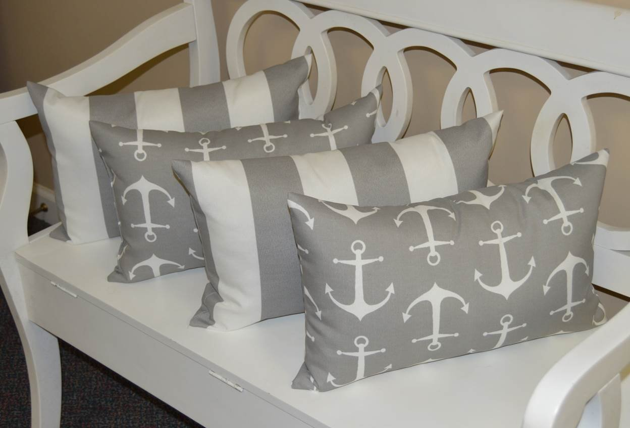 Resort Spa Home Decor Set of 4 Indoor Outdoor Decorative Lumbar Rectangle Pillows – 2 Gray and White Nautical Anchor Gray and White Stripe