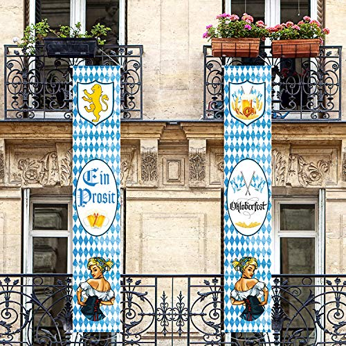 Oktoberfest Decorations Cheap (Bavarian Oktoberfest Banner Oktoberfest Decorations Bavarian Lion Crest Flags Welcome Porch Sign for German Theme Party Hanging)