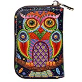 Buvelife Credit Card Wallet RFID Blocking Short Wallet Leather Zipper Wallet Clutch Wallets, Wallet for Women (Owl-1)