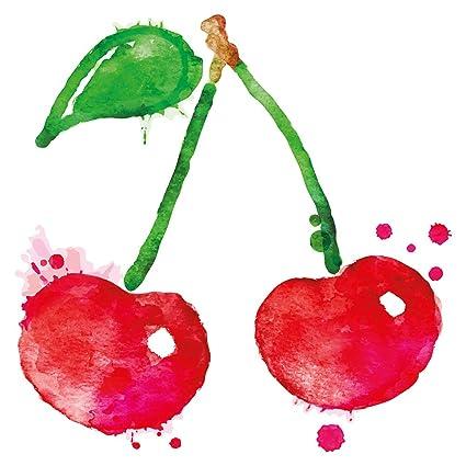 Pegatina De Pared De Cocina Cerezas Rojas Con Hojas Fructificar