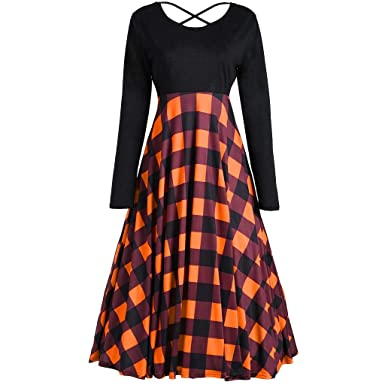 bfe2e68ff56f Amazon.com: Pandaie-Womens Dresses, Women Loose Vintage Casual Long Sleeve Patchwork  Dress Plaid Party Dress: Clothing