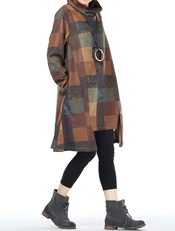 Mallimoda Damen Rollkragen Tunika Kleid Vintage Langarm Kariert Shirt A-Linie Pullover Oberteile mit Taschen