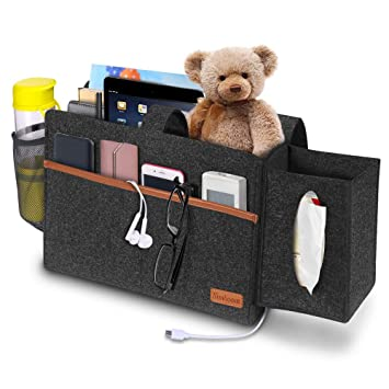 Remarkable Simboom Bedside Bunk Bed Organizer Felt Hanging Storage Bag With Tissue Box And Water Bottle Pocket Magazine Books Holder For Home College Dorm Sofa Creativecarmelina Interior Chair Design Creativecarmelinacom