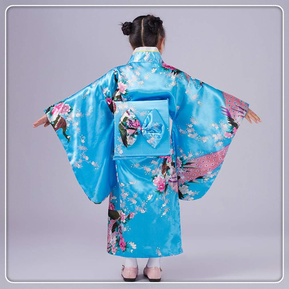 Girl Kimono Kids Dress Traditional Clothing Silk Fabric Robe Wedding Wear Party Performance Gown Children Yukata Vintage Japanese Style