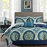 Madison Park Essentials Serenity Twin Size Bed Comforter Set Bed in A Bag - Blue, Medallion – 7 Pieces Bedding Sets – Ultra Soft Microfiber Bedroom Comforters
