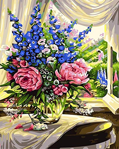 YEESAM ART DIY Paint by Numbers for Adults Beginner Kids, Window Warm Flowers Bouquet 16x20 inch Linen Canvas Acrylic Stress Less Number Painting Gifts (Flowers, with Frame)