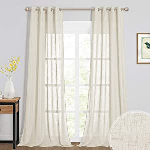 RYB HOME Linen Sheer Curtains, Soft Linen Textured Farmhouse Curtains for Living Room Windows, Extra Long Curtain Panels for Bedroom Dining Area, W 52 x L 95, Set of 2, Warm Beige