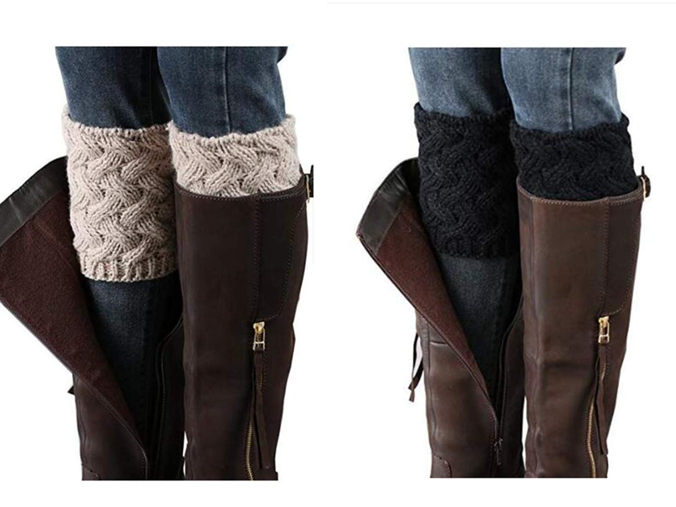 Xugq66 4 Pairs Women Winter Leg Warmer Crochet Knit Boot Cuffs Socks (2 Pair-a9)