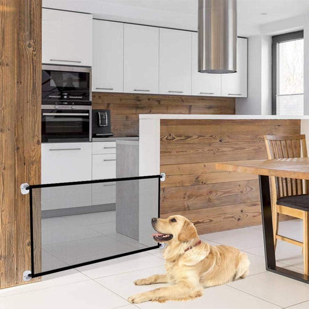 Puerta mágica para Mascotas o Bebés, Barrera Seguridad Perros, Puerta de Perro, Barrera para Perro, Plegable y portátil,ideal para perros o gatos,en escaleras en interiores y exteriores,180 x 72 cm: Amazon.es: Productos