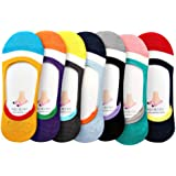 Womens Colored Non Slip Low Cut Shoe Liner No Show Socks 6 Pack