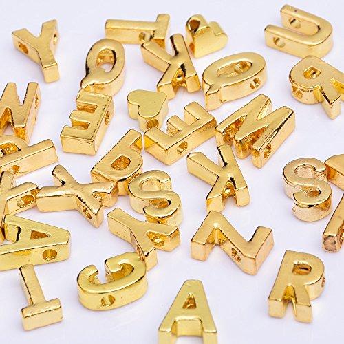 (Alloy Gold Letter Pendant Charm Letter Name necklace bracelet diy personalize jewelry,sold 10pcs/lot,V)