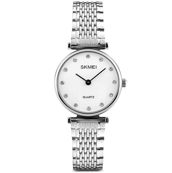 Nuevo Relojes para mujer Moda de plata de acero inoxidable relojes regalos: Amazon.es: Relojes