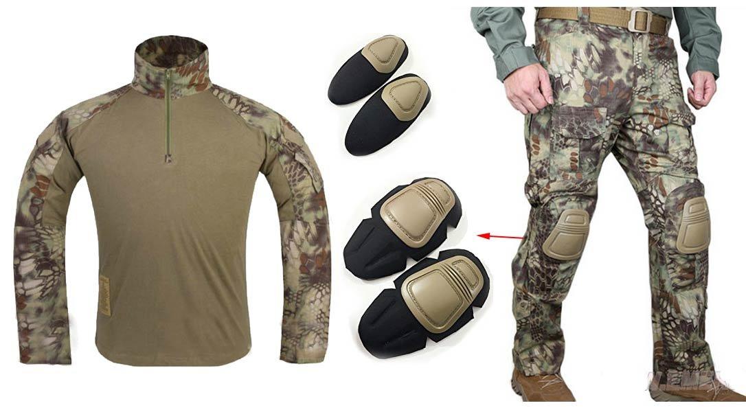 WorldShopping4U Herren Army Military Softair Paintball Krieg Spiel Shooting Gen3 G3 Tactical BDU Combat Uniform Hemd & Hose Anzug Mit Ellenbogenschützer & Knie Pads