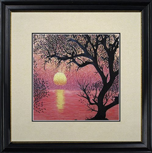 Tree Near Water Under Pink Sunset Oriental Wall Hanging Art