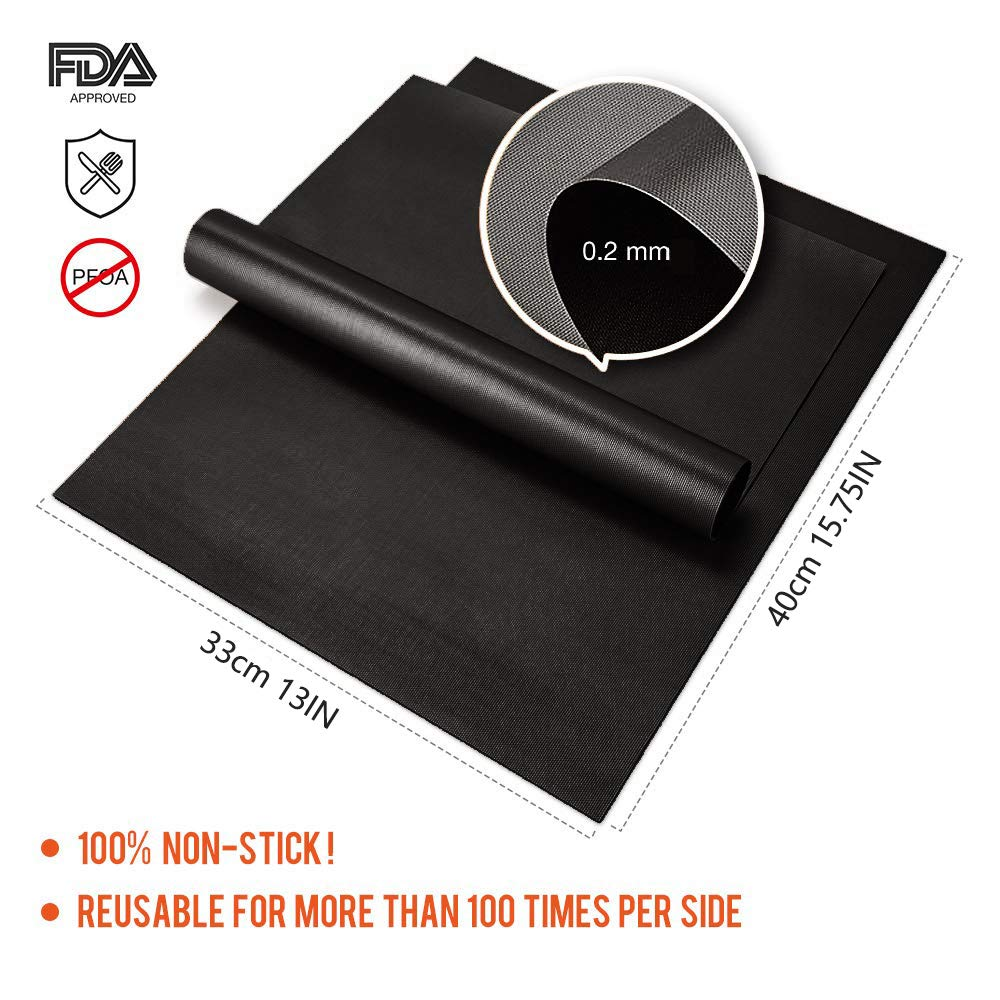 KITMA BBQ Grill Mat, Set of 6 Non – Stick Backing Mats, Reusable, Easy to Clean Barbecue Grilling Accessories, Works on Gas, Charcoal, Electric Grill, 13 15.75 Inches, Black