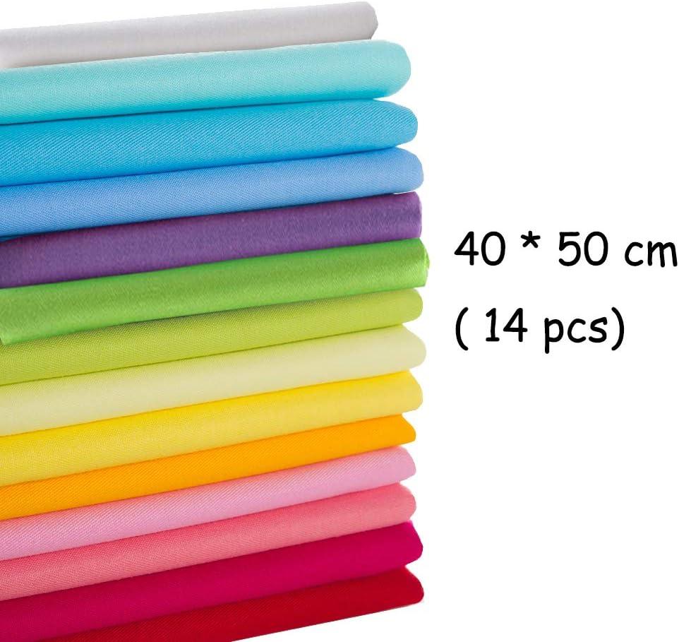 Ur Bt Option 14 unids 40 cm * 50 cm Tela de Algodón Sólido Liso para Coser Acolchado Patchwork Textil Muñeca Paño del Cuerpo