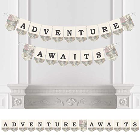 Big Dot Of Happiness World Awaits   Travel Themed Party Bunting Banner    Map Party Decorations