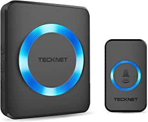 Wireless Doorbell, TeckNet Plug-in Cordless Door Chime Kit With 1000ft Range, 38 Chimes, 4 Level Volume, No Batteries Required for Receiver (Black)