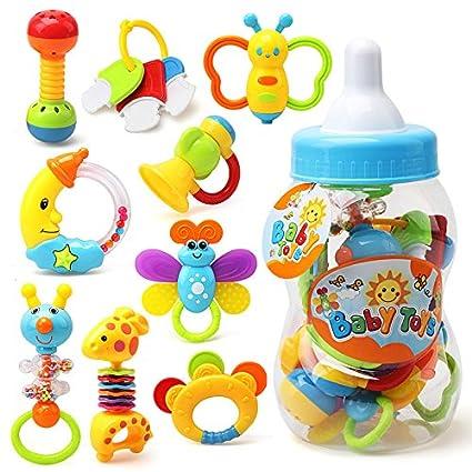 Juego de 9 piezas de pelotas de juguete para bebé, con dibujos animados, colorido