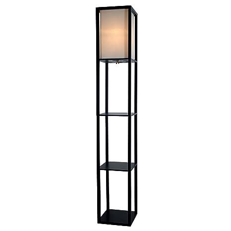 Wooden Shelves Floor Lamp With White Linen Shade Black Amazon