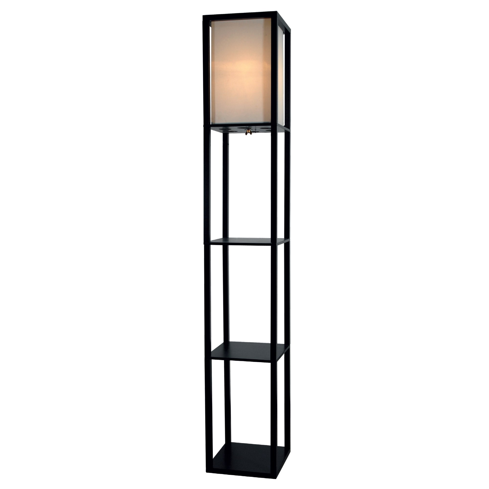 Light Accents Floor Lamp 3 Shelf Standing Lamp 63'' Tall Wood with White Linen Shade (Black)