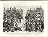 #7: French Russian Prussian Troops Musketeer Hussar c.1870 antique engraved print