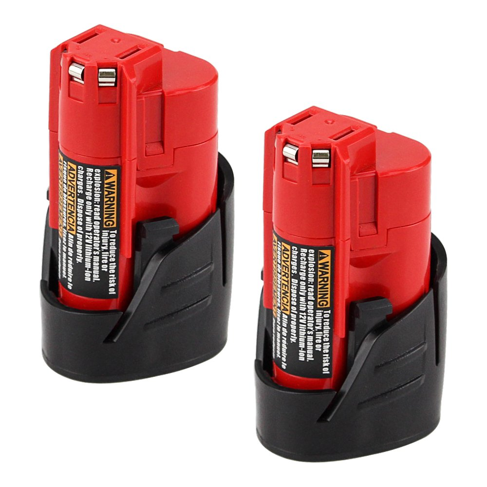 2500mAh Replacement for Milwaukee M12 12V Battery XC 48-11-2410 48-11-2420 48-11-2411 Cordless Tools Batteries - 2 Pack