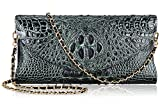 PIJUSHI Women's Genuine Leather Embossed Crocodile Evening Party Clutches Handbags Shoulder Bag 66115(Black/Green)