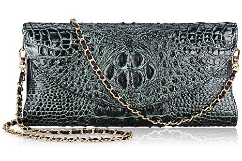 PIJUSHI Women's Genuine Leather Embossed Crocodile Evening Party Clutches Handbags Shoulder Bag 66115(Black/Green) ()