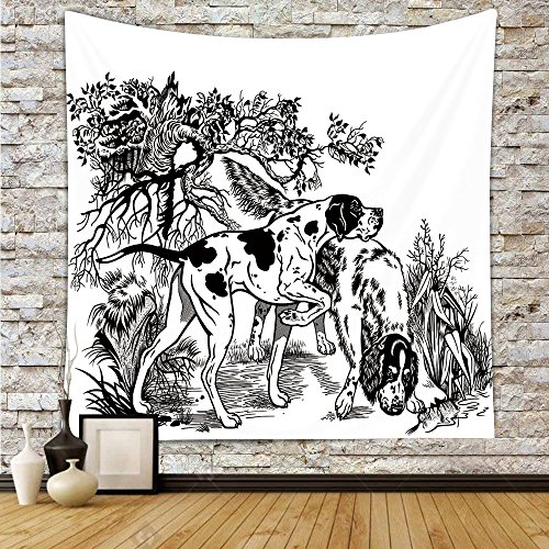 Tapestry Setter English (Polyester Tapestry Wall Hanging,Hunting Decor,Hunting Dogs in Forest Monochrome Drawing English Pointer and Setter Breeds,Black White,Wall Decor for Bedroom Living Room Dorm)