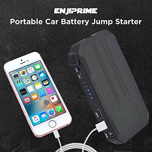 Portable Car Battery Jump Starter Pack - Charger with Jumper Cables, Emergency Kit for Engines Up to 3L Gas, Phone Power Bank, Smart Charging Port, LED Flashlight, Cargador de Bateria by Enji Prime (Image #4)