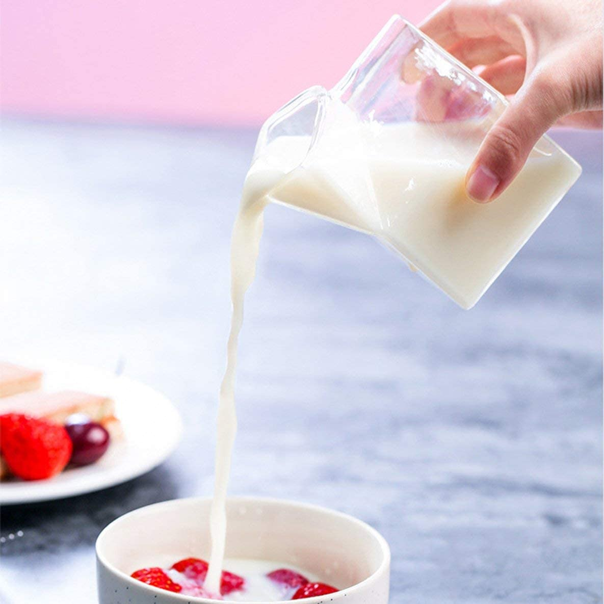 Rouku Glass Milk Glass Cups Creative American Milk Cartons Novelty Milk Coffee Juice Cup Crystal Breakfast Container Box Can Microwave