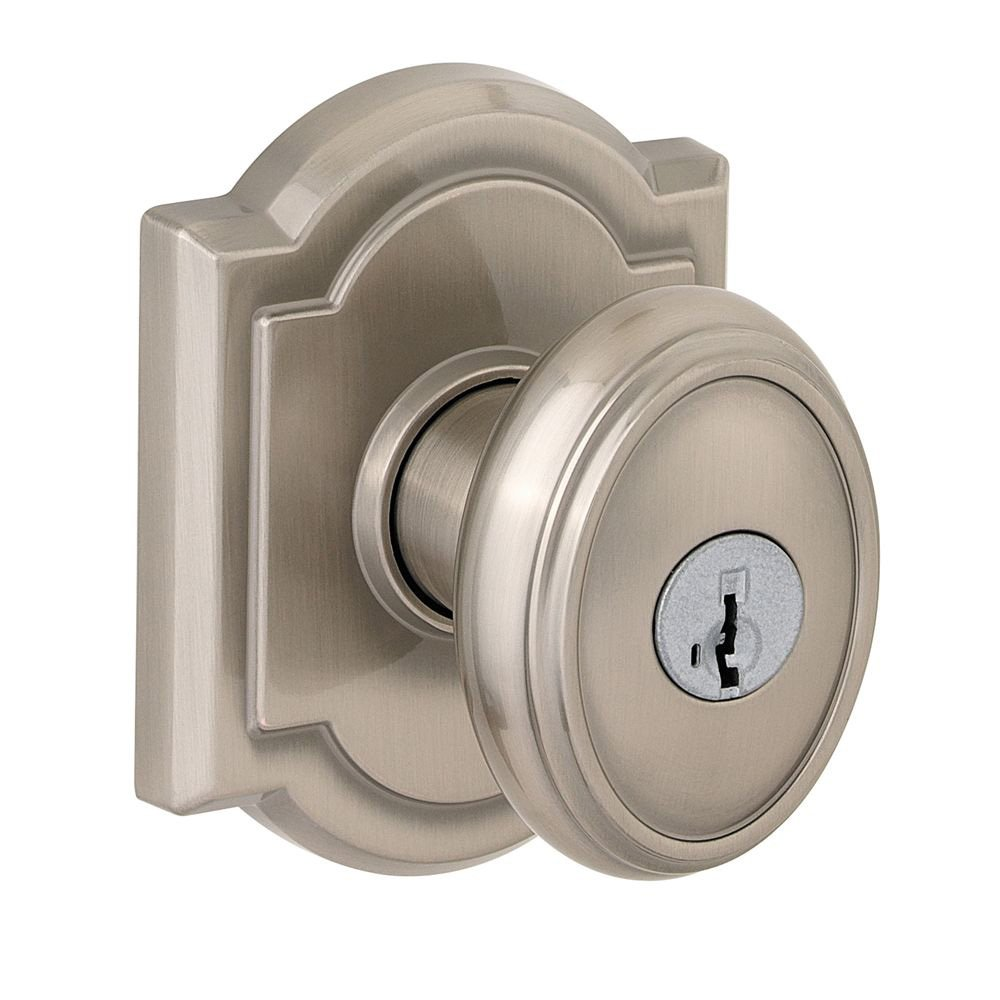 Keyed Entry Smartkey Brass; Hardened Steel Prestige 354CYK ARB 15 SMT Carnaby Knob with Arch Rose Satin Nickel