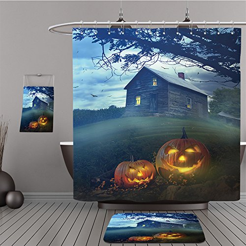 Uhoo Bathroom Suits & Shower Curtains Floor Mats And Bath Towels 85701673 Halloween pumpkins in front of a Spooky house For Bathroom