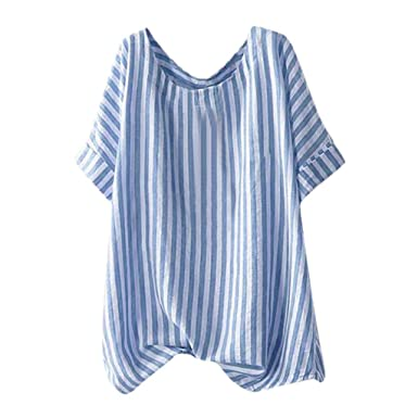 347cb4ba9b0 Summer Women Loose Cotton Linen Top Round Neck Short Sleeve Vintage Striped  Loose Breathable T-