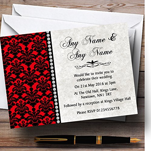 Black Invitations Damask Wedding - Deep Red Black Damask & Diamond Personalized Wedding Invitations