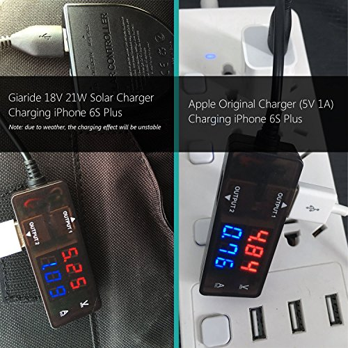 GIARIDE 21W 18V Portable Foldable Solar Charger 5V USB 18V DC Output Sunpower Solar Panel for Tablet, iPad, iPhone, Galaxy, 12V Car/Boat/RV Battery, Travel, Camping by GIARIDE (Image #4)