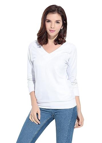 WanYang Mujeres Atractivas Del Color Solido De La Manga Con Cuello En V De La Camiseta
