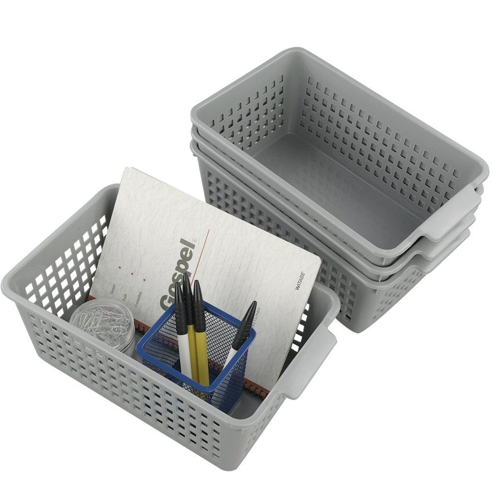 Doryh Grey Plastic Storage Basket/Bins Organizer, 4-Pack Doryhier 0124
