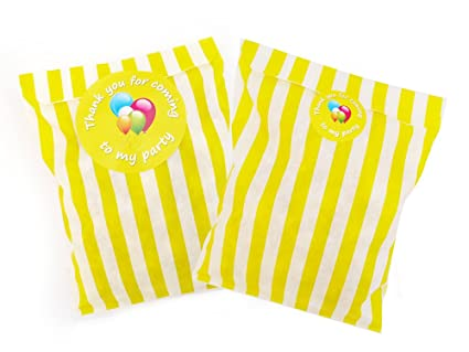Bolsas de papel amarillas a rayas para fiestas con pegatinas ...