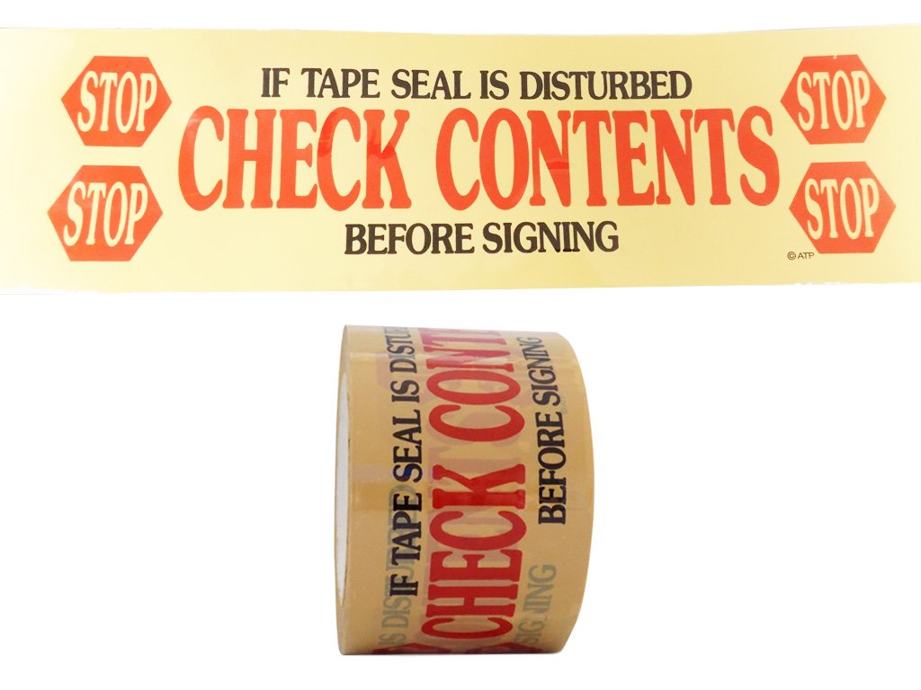 T.R.U. PP20S-C Pre-Printed Clear Carton Sealing Tape with Red and Black Lettering -STOP/Check Contents acrylic water based adhesive, 3 in. x 110 yds in length, 2mil (Pack of 24)