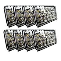 (8pcs) Dot approved 4x6 inch LED Headlights Rectangular Replacement H4651 H4652 H4656 H4666 H6545 for Peterbil Kenworth Freightinger Ford Probe Chevrolet Oldsmobile Cutlass
