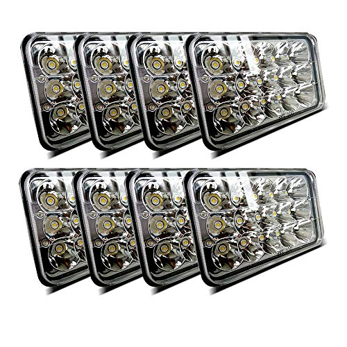 (8pcs) Dot approved 4x6 inch LED Headlights Rectangular Replacement H4651 H4652 H4656 H4666 H6545 for Peterbil Kenworth Freightinger Ford Probe Chevrolet Oldsmobile - Dot Headlights Approved