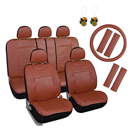Leader Accessories Diamond II Faux Leather Car Seat Covers 17pcs Full Set Universal Brown Airbag Ready